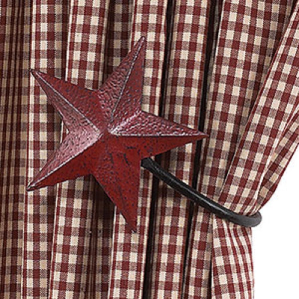 Burgundy Barn Star Curtain Tiebacks Set/2