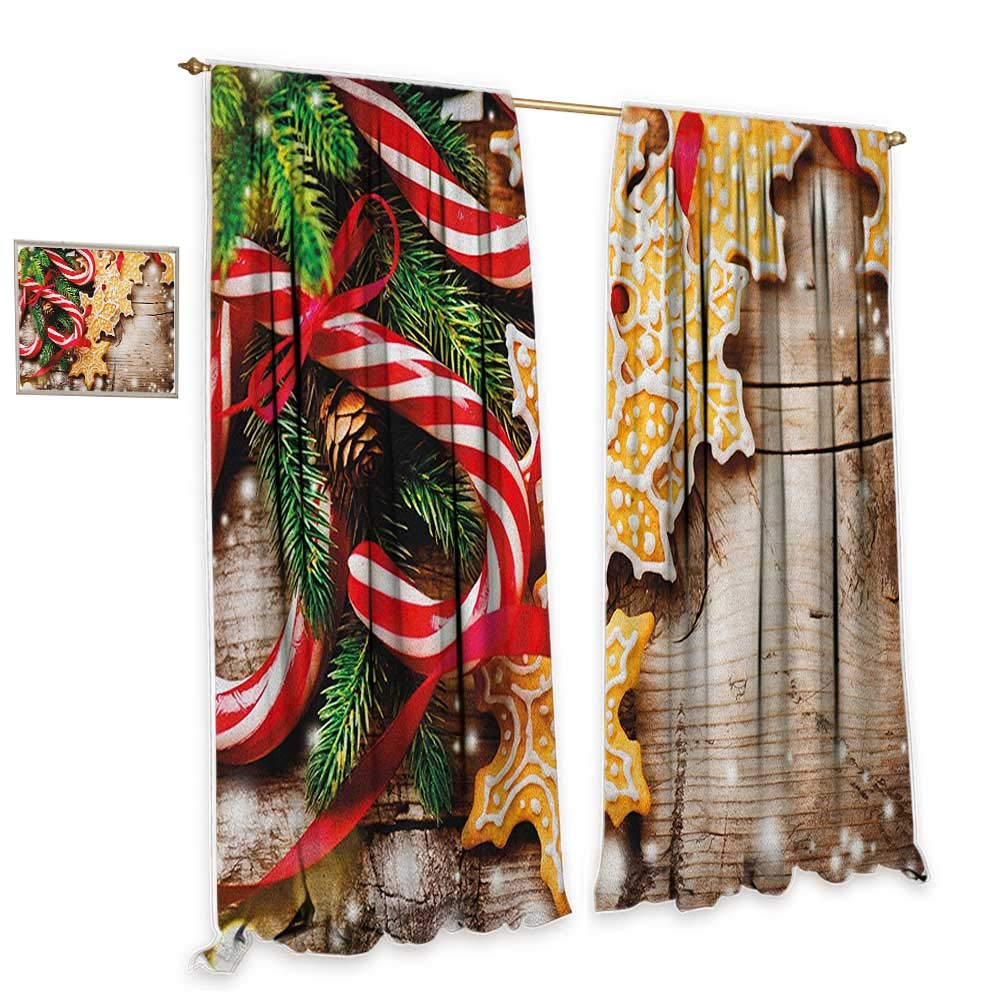 "cobeDecor Christmas Decor Curtains Cookies and Candy Canes on Wooden Tree Board Winter Table Spread Season Elements Blackout 55"" Wx39 L Multicolor"