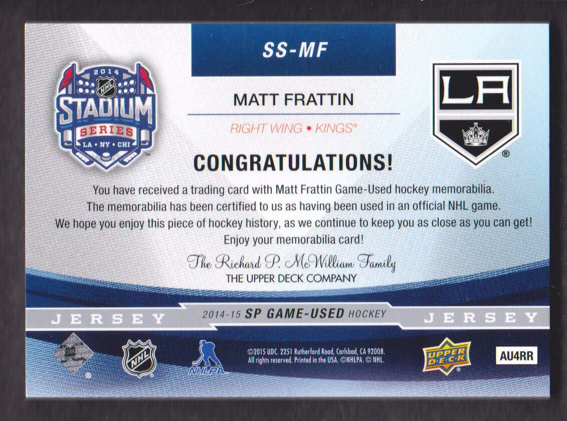 2014-15 SP Game Used Hockey Stadium Series Jersey  SS-MF Matt Frattin Los  Angeles Kings at Amazon s Sports Collectibles Store 743a5f6b9