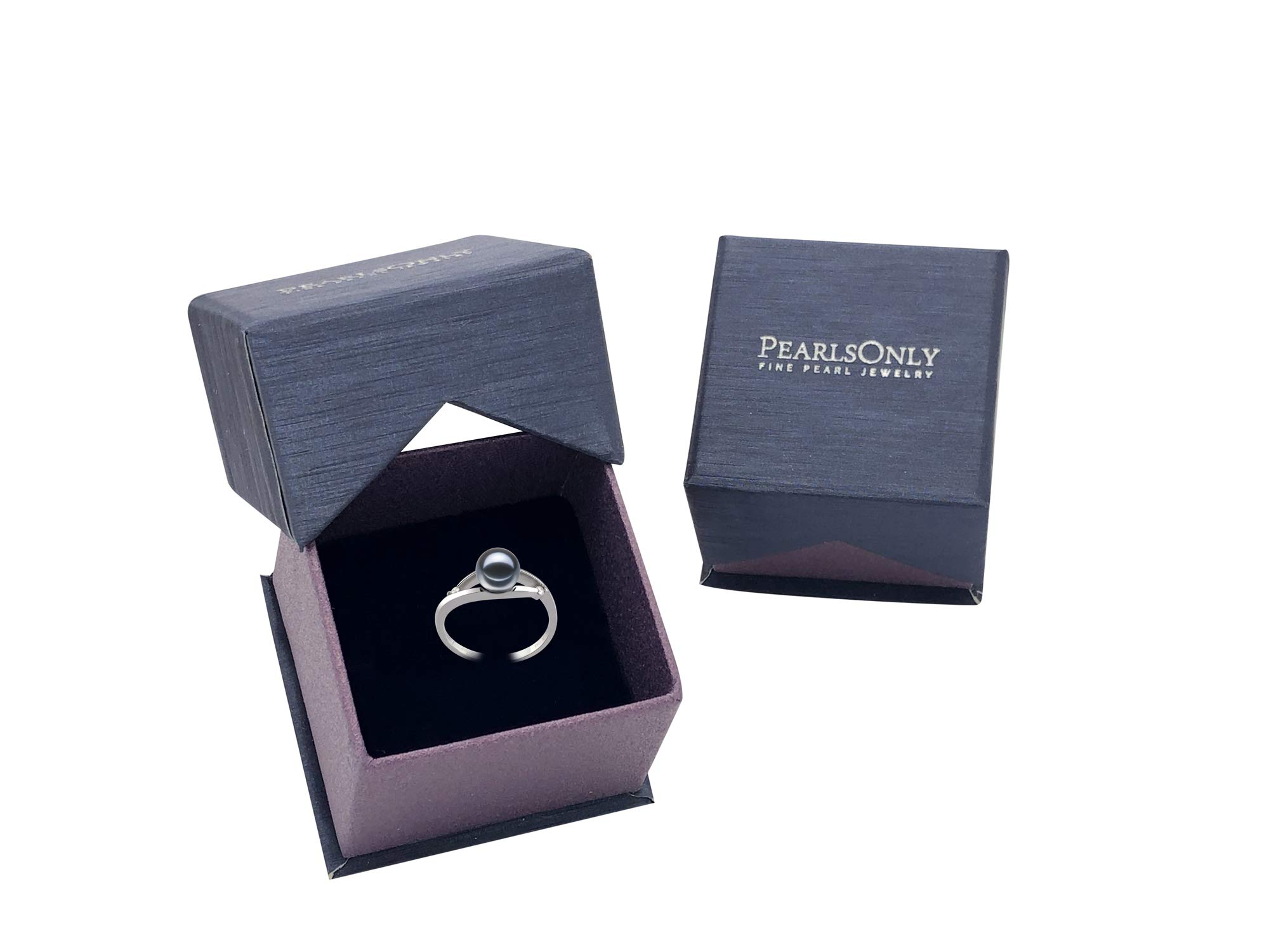 Tanya Black 6-7mm AAAA Quality Freshwater 14K White Gold Cultured Pearl Ring For Women - Size-7 by PearlsOnly (Image #6)