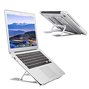 "Adjustable Laptop Stand,Ventilated Portable Ergonomic Notebook Riser for Desk,Multi-Angle Adjustable Portable Anti-Slip Mount for MacBook, Surface Laptop, Notebook, 10""-17"" Tablet (Silver)"