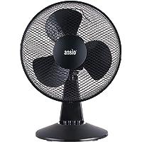 ANSIO Tragbarer oszillierender Tischventilator 30 cm / 12 zoll - Schwarzer Ventilator für Heim und Büro *** Aktionspreis *** 2 Jahre Garantie