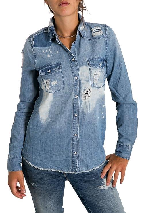 low priced 524ab ff0e5 ONLY - Camicia di jeans da donna con strappi rock it raw 40 ...