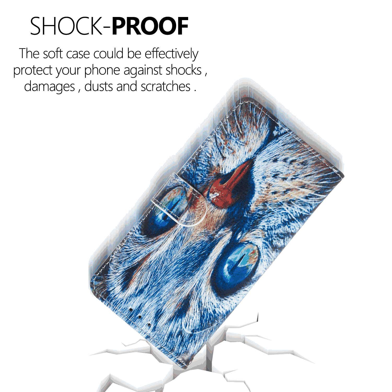 Samsung Galaxy A50 Flip Case Cover for Samsung Galaxy A50 Leather Extra-Shockproof Business Mobile Phone case Card Holders Kickstand with Free Waterproof-Bag Elegant