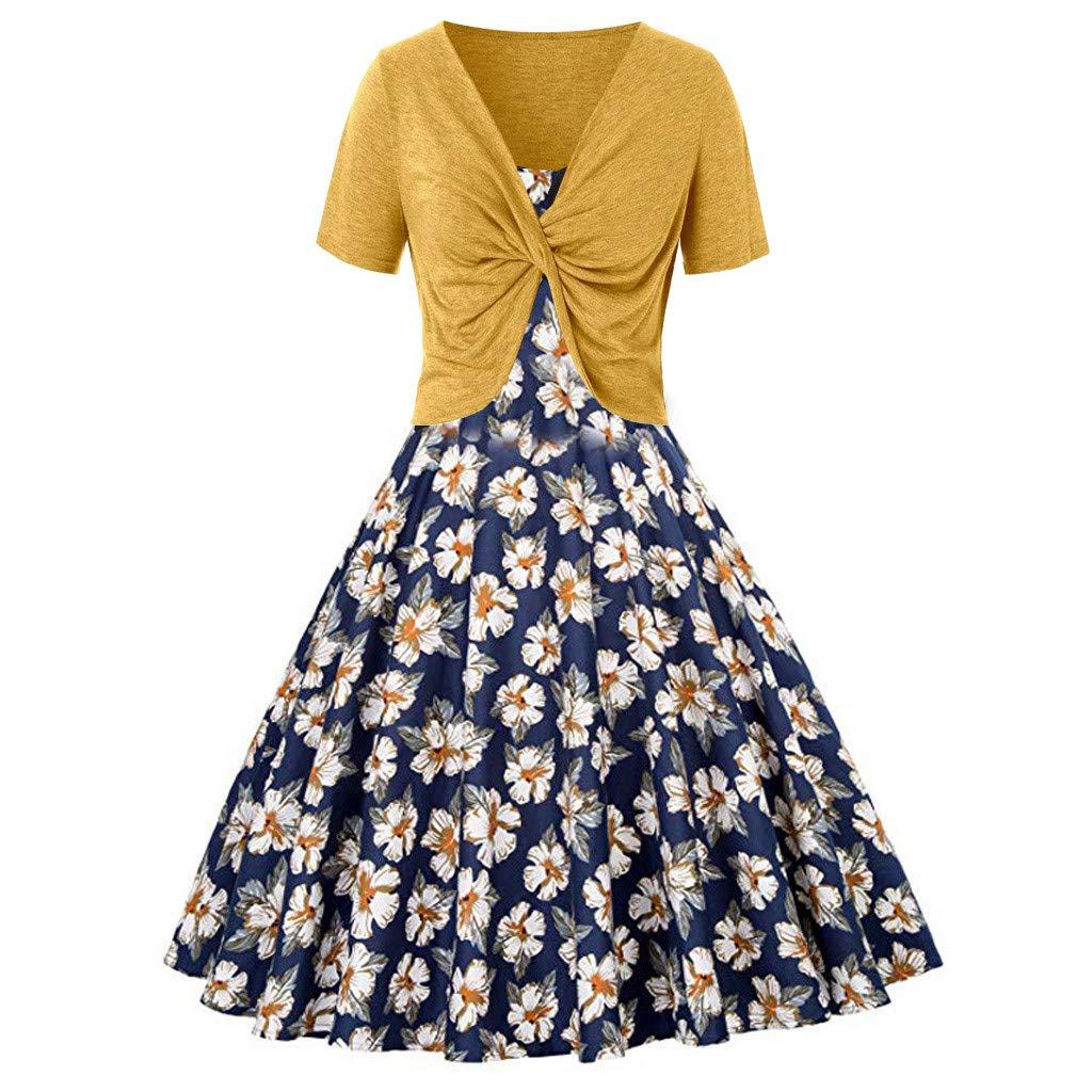 Sunnywill Damen Elegant Festlich Lang Knielang Kleider Fresh Print Sling Pullover ZweiteiligeSet