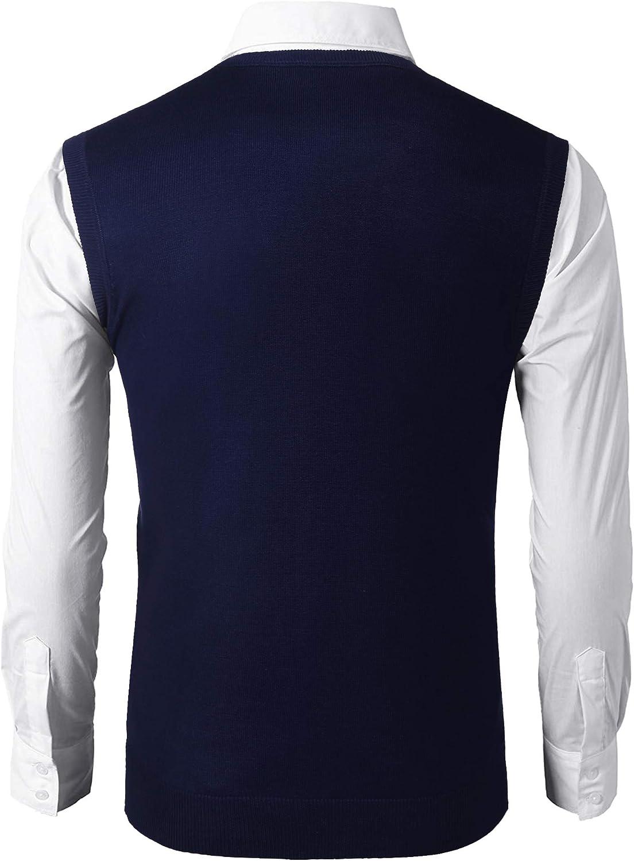 COOFANDY Herren Weste Pullunder Strickweste /Ärmellos V-Ausschnitt Karo Knit Strick Vest Regular Fit Einfarbig Business Elegent Gilet f/ür M/änner