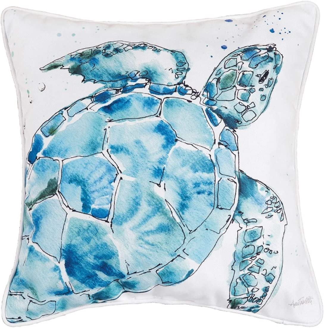 C/&F Home 85145168 Indoor Outdoor Polyester Turtle Decorator Pillow 16 Inches Square Stuffed Finished Size