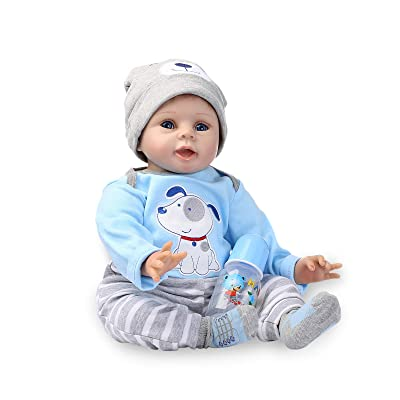 Nicery Reborn Baby Doll Soft Simulation Silicone Vinyl 22inch 55cm Magnetic Mouth Lifelike Boy Girl Toy Blue Dog: Toys & Games