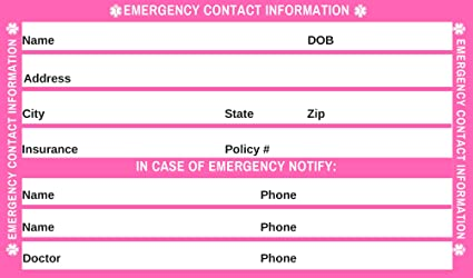 Tarjeta de identificación de emergencia para estado médico y ...