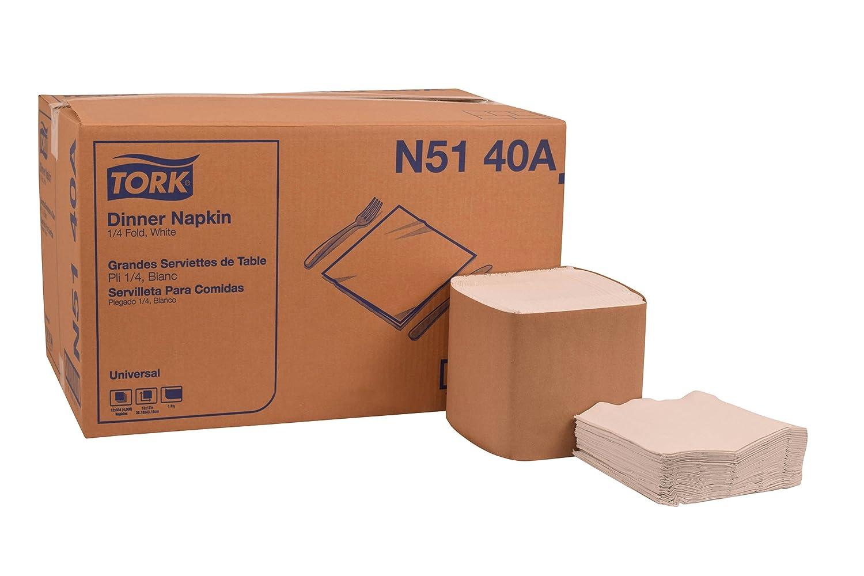 Tork n5140 aユニバーサルディナーナプキン、1 / 4、折り曲げ17.0インチ長、1-ply X 15.0インチ幅、ホワイト(ケース12のパック、パック334、4,008ナプキン) 1-(Pack) N5140A 4008 B07B3B6WQT  1-(Pack)