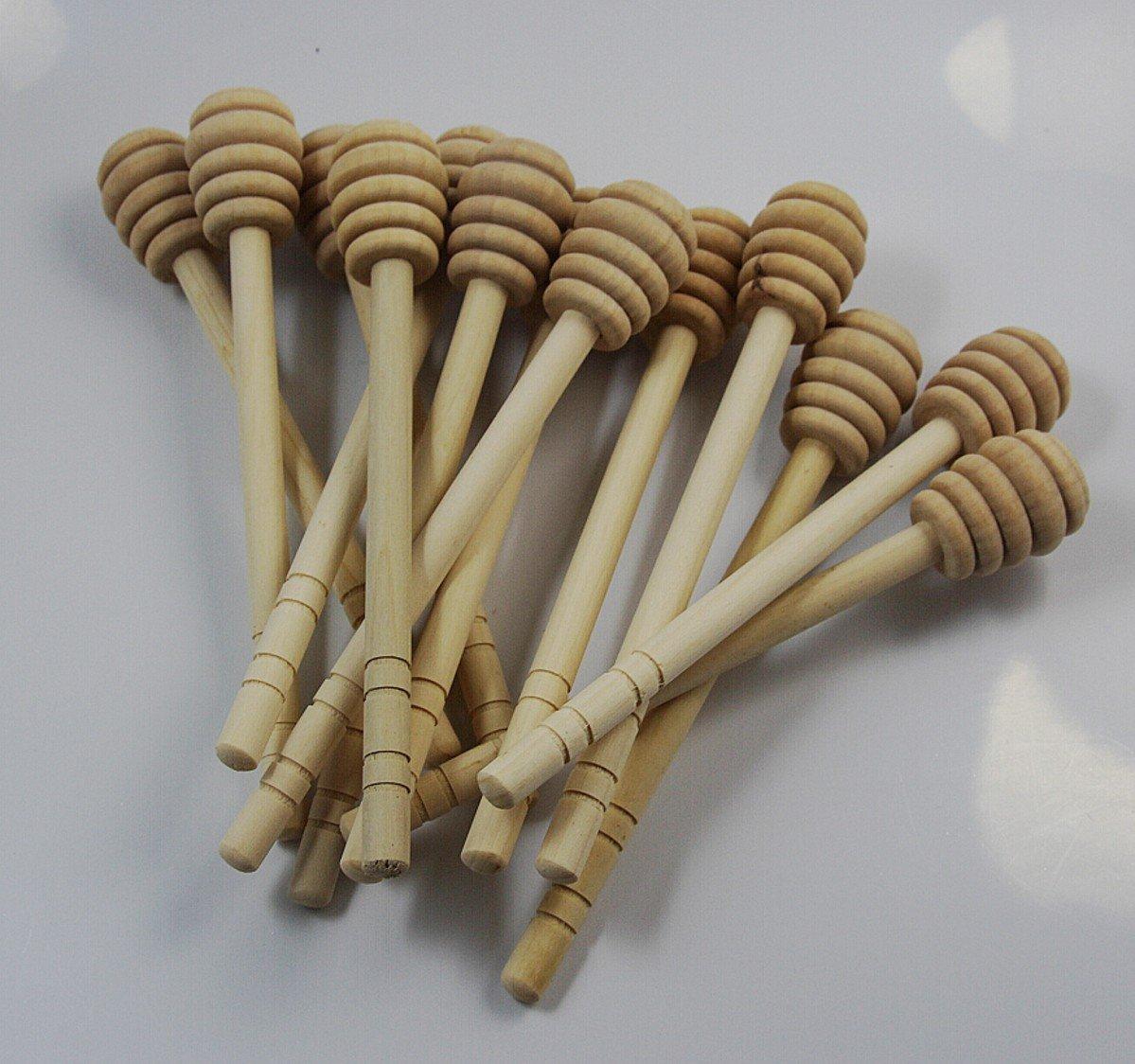 CHENGYIDA 100- PACK 6'' Wooden Honey Dippers , Portable Mini Jam Honey Dipper Stirring Rod Wooden Muddler Honey Stick
