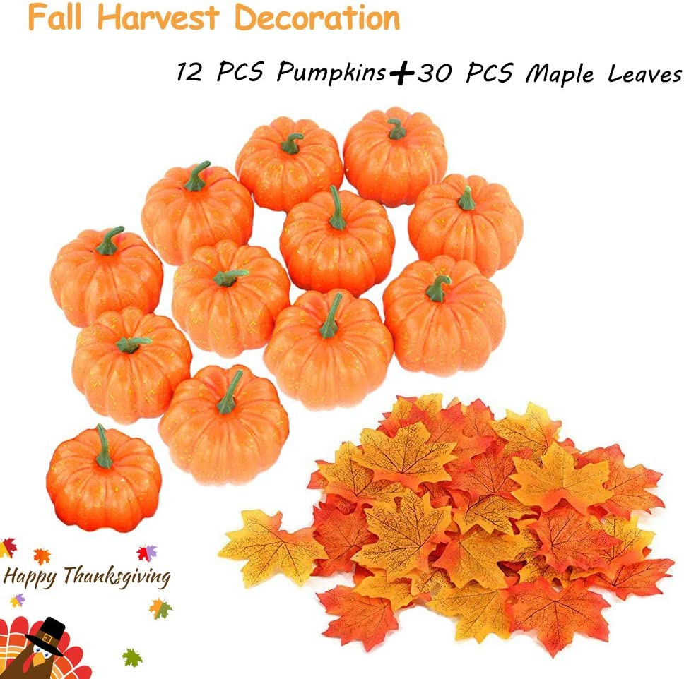 Evosummer 12 PCS Artificial Mini Fake Pumpkins with 30PCS Maple Leaves for Halloween Thanksgiving Wedding Center Decoration,Lifelike and Realistic Pumpkin Fall Harvest Autumn Party Ornament
