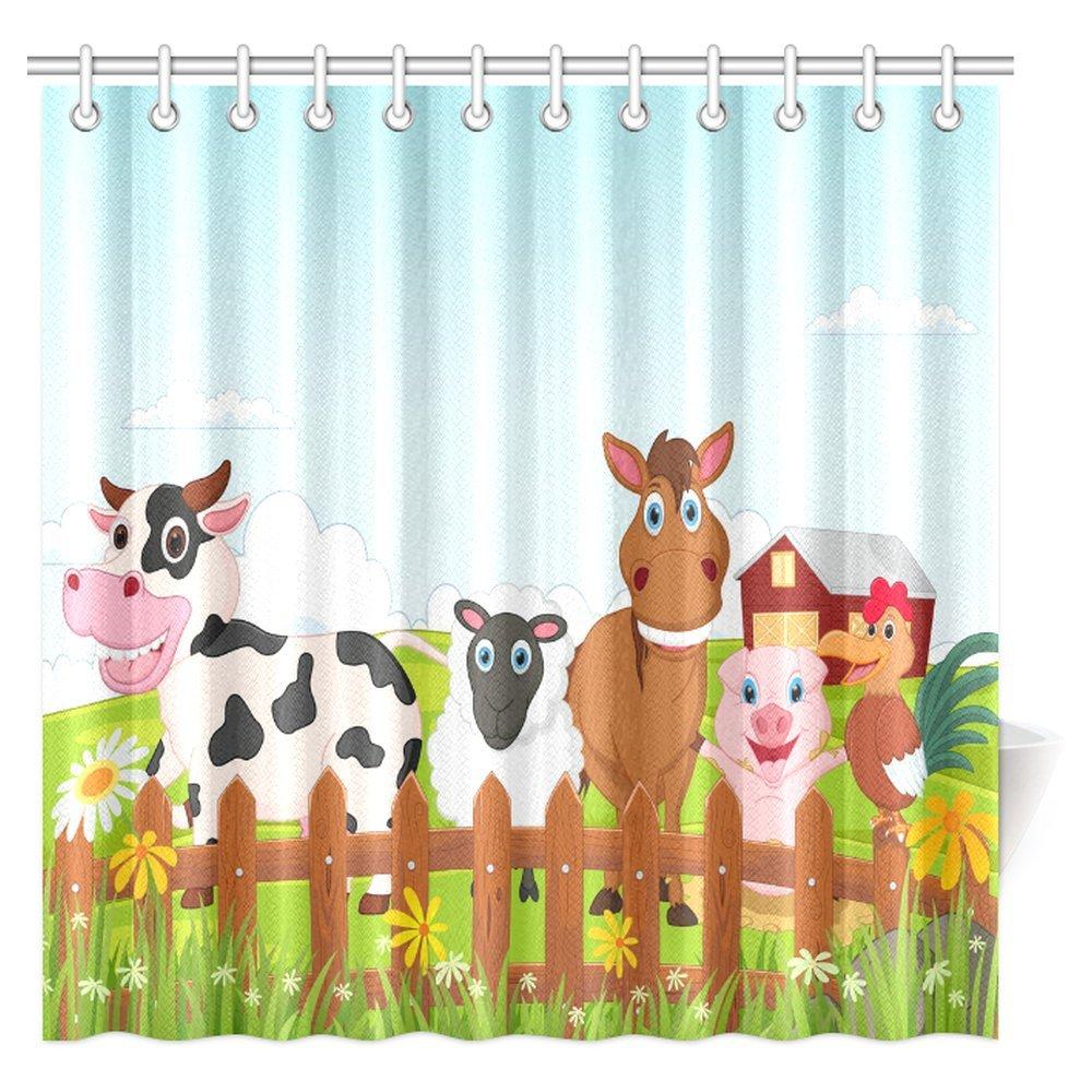 InterestPrint Cartoon Decor Shower Curtain, Happy Farm Animal Cartoon Collection Fabric Bathroom Shower Curtain Set, 72 X 72 Inches Extra Long