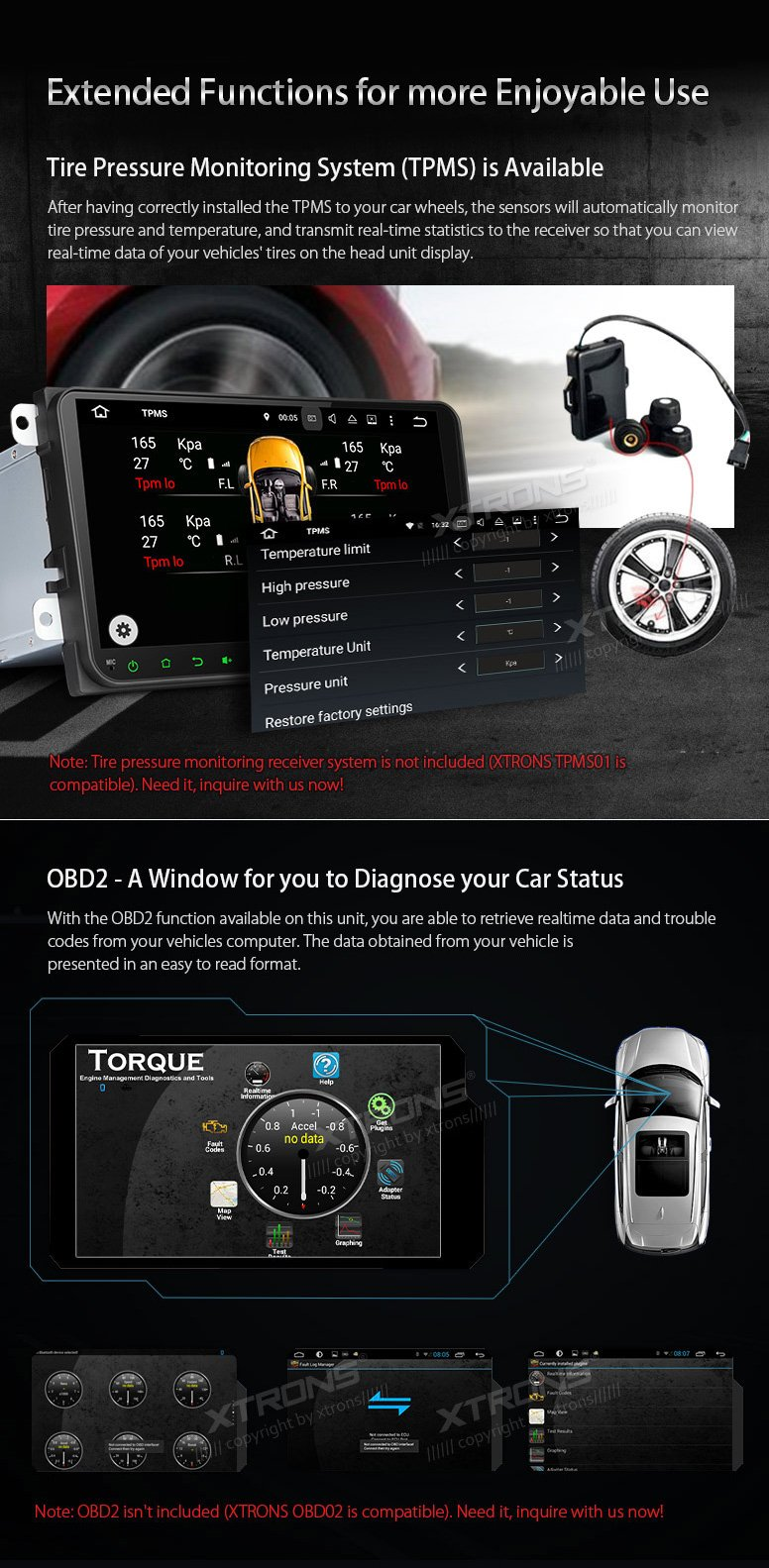 XTRONS Android 6.0 Octa-Core 9 Inch Capacitive Touch Screen Car Stereo Radio DVD Player Screen Mirroring Function OBD2 Tire Pressure Monitoring for VW Caddy Golf 2003-2013 Reversing Camera Included by XTRONS (Image #7)