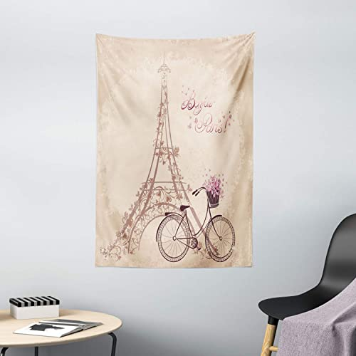 Ambesonne Paris Tapestry, Bonjour Paris Eiffel Tower and Vintage Bicycle with Flowers Retro Soft Color Print, Wall Hanging for Bedroom Living Room Dorm Decor, 40 X 60 , Cream Pink
