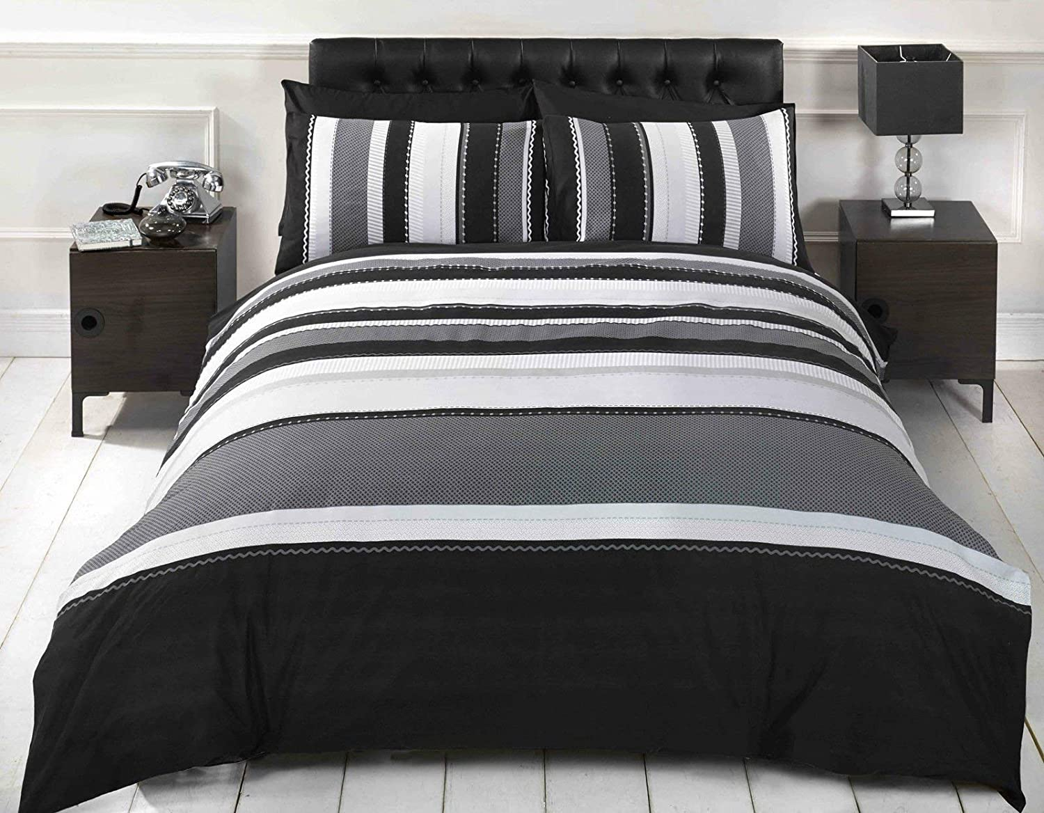 Signature Striped Grey King Quilt Duvet Cover & 2 Pillowcase Bed Set Adults Teenagers, Cotton and Polyester