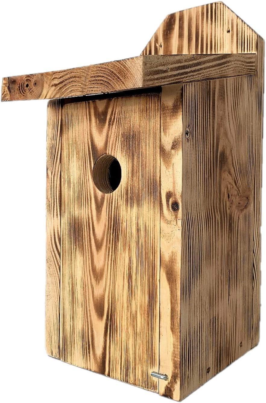 Casita para pájaros, gorriones y papamoscas - para montar en paredes - madera carbonizada