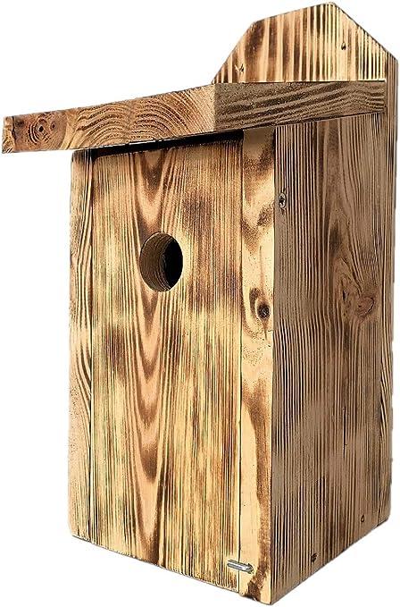 Casita para pájaros, gorriones y papamoscas - para montar en paredes - madera carbonizada: Amazon.es: Jardín