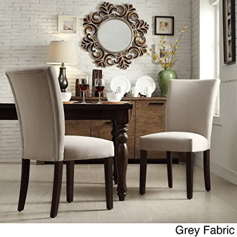 INSPIRE Home Catherine Parsons Dining Room Side Chair (Set Of 2) Gray Fabric