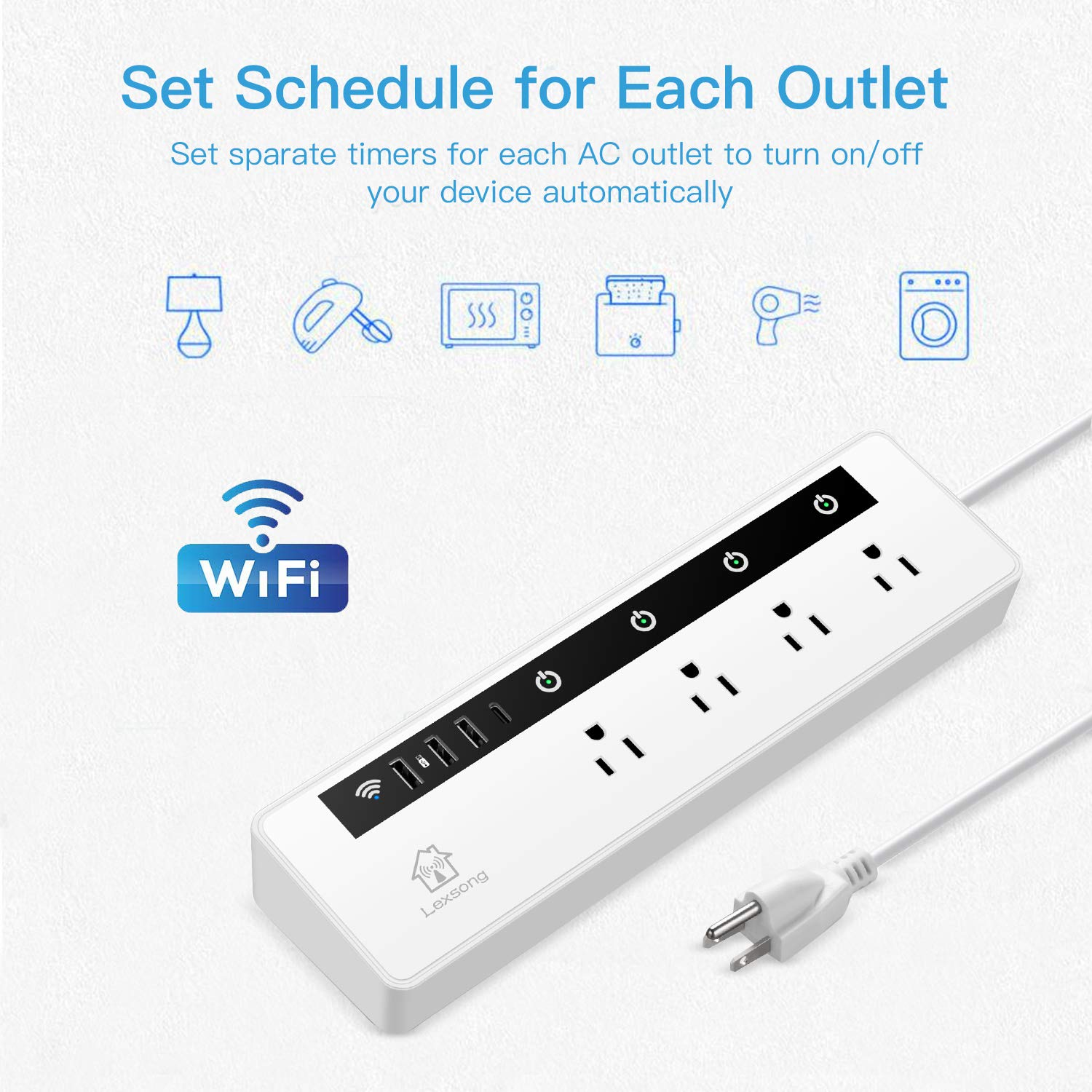 physical touch APP remotecontrol,compatible with Alexa and Google iPhone 1.5 foot extension wire CTUDP L1 voice controls wifi smart plug,3USB interfaces 4remote ac plugs and 1 type-c interface Android