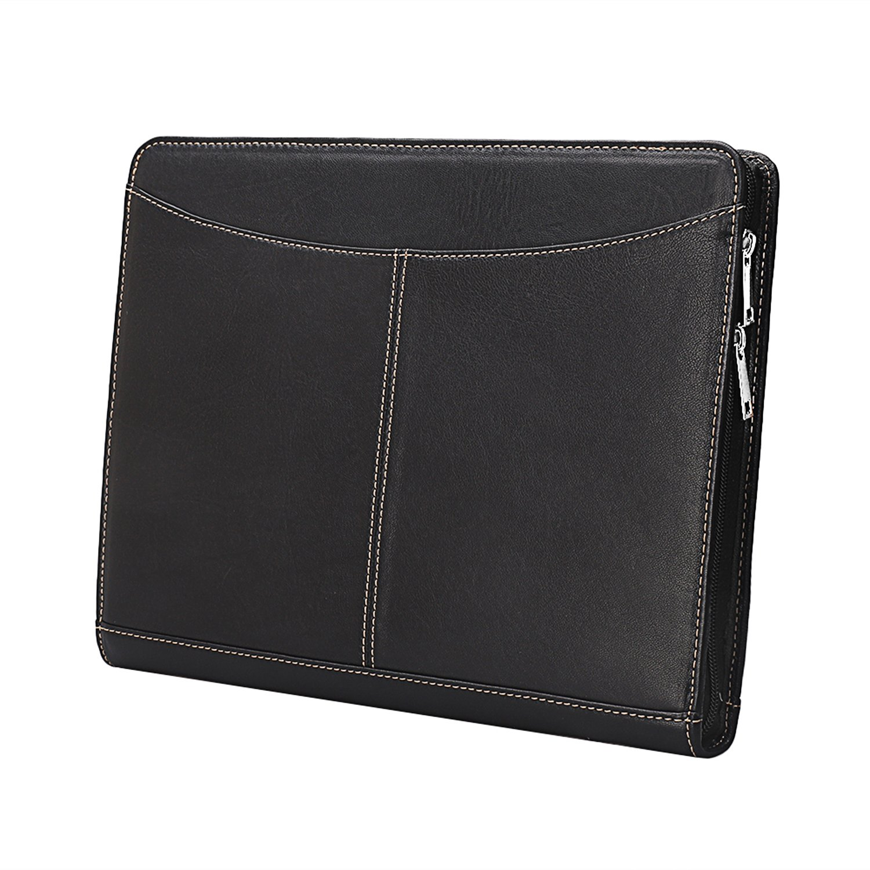 Professional Goatskin Leather Compact Portfolio Business Organizer Case with Zipper Closure for iPad Air/iPad Pro/Microsoft Surface Pro padfolio with Letter-Size/A4 Documens(Microsoft Surface Pro3/4)