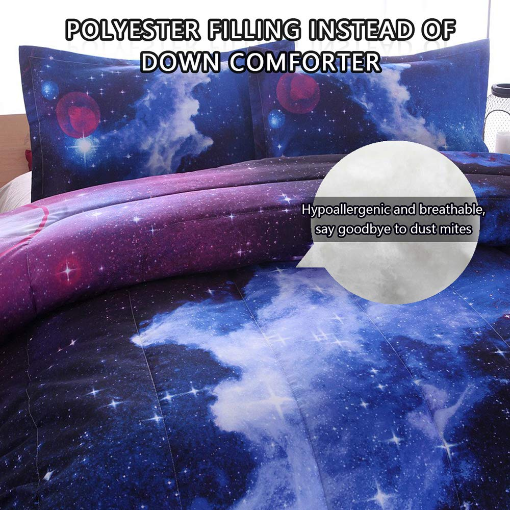 PomCo Galaxy Comforter Full (79x90 Inch), 3Pcs(1 Galaxy Comforter & 2 Pillowcases) 3D Space Outer Sky Microfiber Bedding Set, Universe Cloud Galaxy Comforter Set for Boy Girl Teen Kid by PomCo (Image #4)