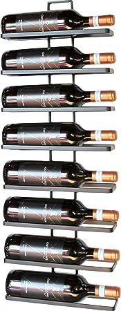 Vino estantería para el montaje en pared 4 Wine con espacio para 4 botellas de metal forjado y pulve