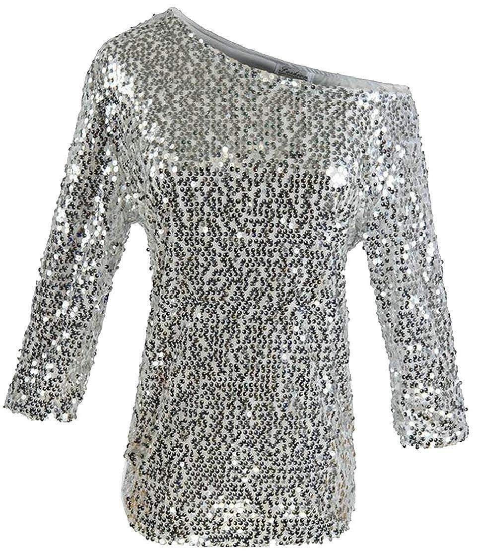 Joe Wenko Womens Classic Metallic Sequins One Shoulder 3//4 Sleeve Club Top Blouse T-Shirts