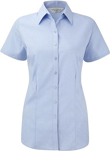 Russell- Camisa de Trabajo de Manga Corta en Tela en espiguilla para Mujer: Amazon.es: Ropa y accesorios