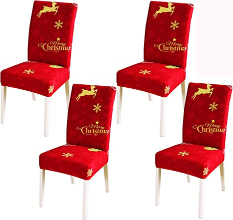 Universal Christmas Stretch Dining Chair Covers Seat Slipcover Xmas Home Decor~
