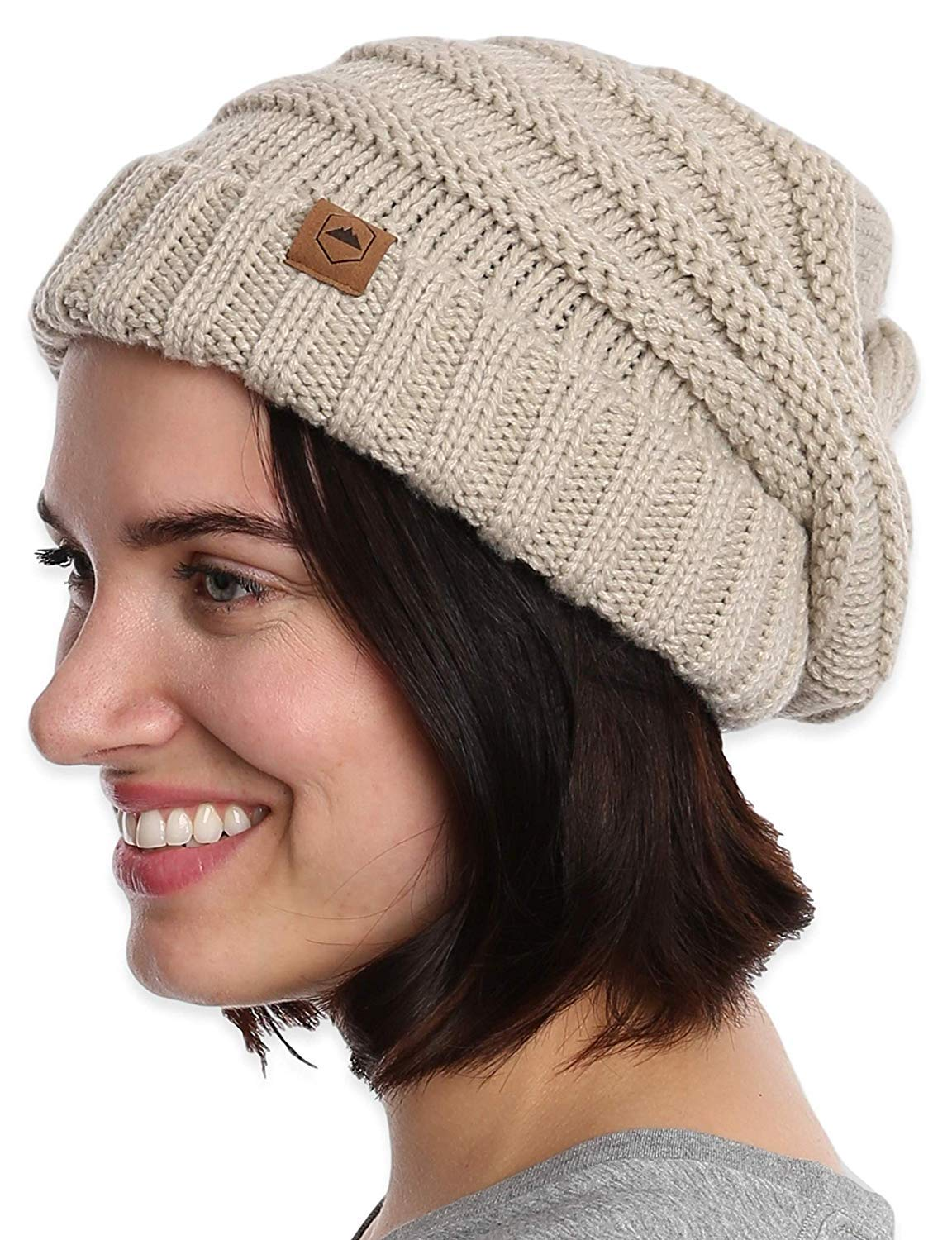 fadc4401ca14af Amazon.com: Slouchy Cable Knit Cuff Beanie - Chunky, Oversized Slouch  Beanie Winter Hats for Women - Stay Warm & Stylish - Serious Beanies for  Serious ...