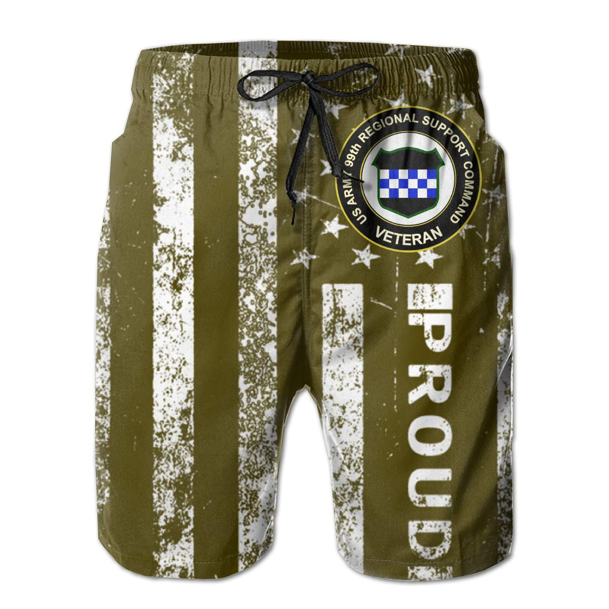 US Army Veteran 99th Regional Support Command Veteran Mens Swim Trunks Beach Short Board Shorts