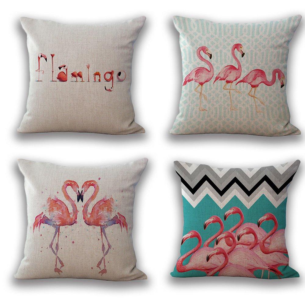 JOTOM Soft Cotton Linen Throw Pillow Case Cover Home Decorative Square Cushion Cover18'' x 18'' Set of 4 (Flamingo)