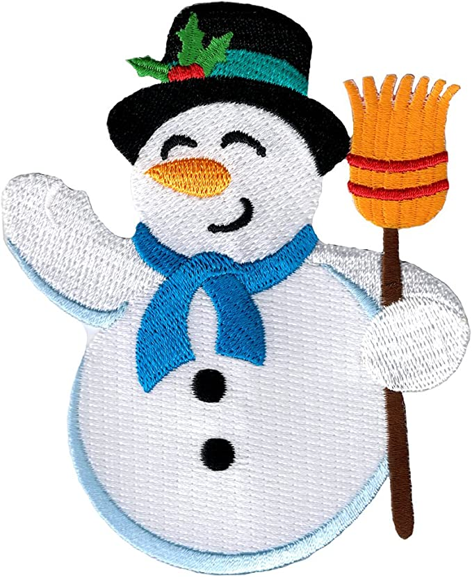 ID 8151A Happy Snowman Face Patch Christmas Winter Embroidered Iron On Applique