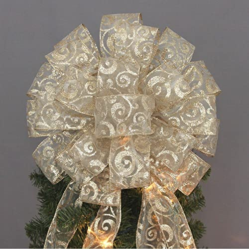 Gold Glitter Swirl Christmas Tree Topper Bow   13u0026quot; ...