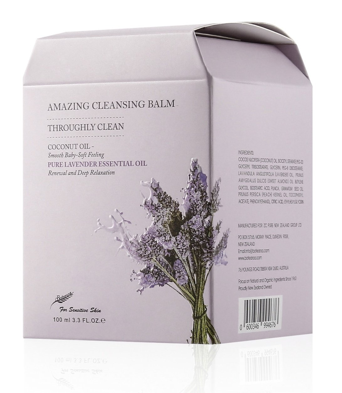Makeup Remover Botearoa Amazing Cleansing Balm for Face&eyes (with Organic Lavender Essential Oil and Coconut Oil,for Sensitive SkinType,for Waterproof Mascara&eyeliner) 100ml