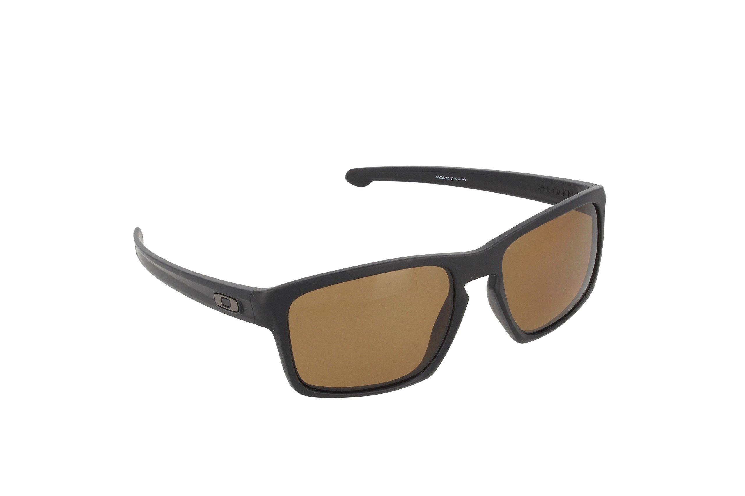 Oakley Men's Sliver OO9262-08 Polarized Rectangular Sunglasses, Matte Black, 57 mm