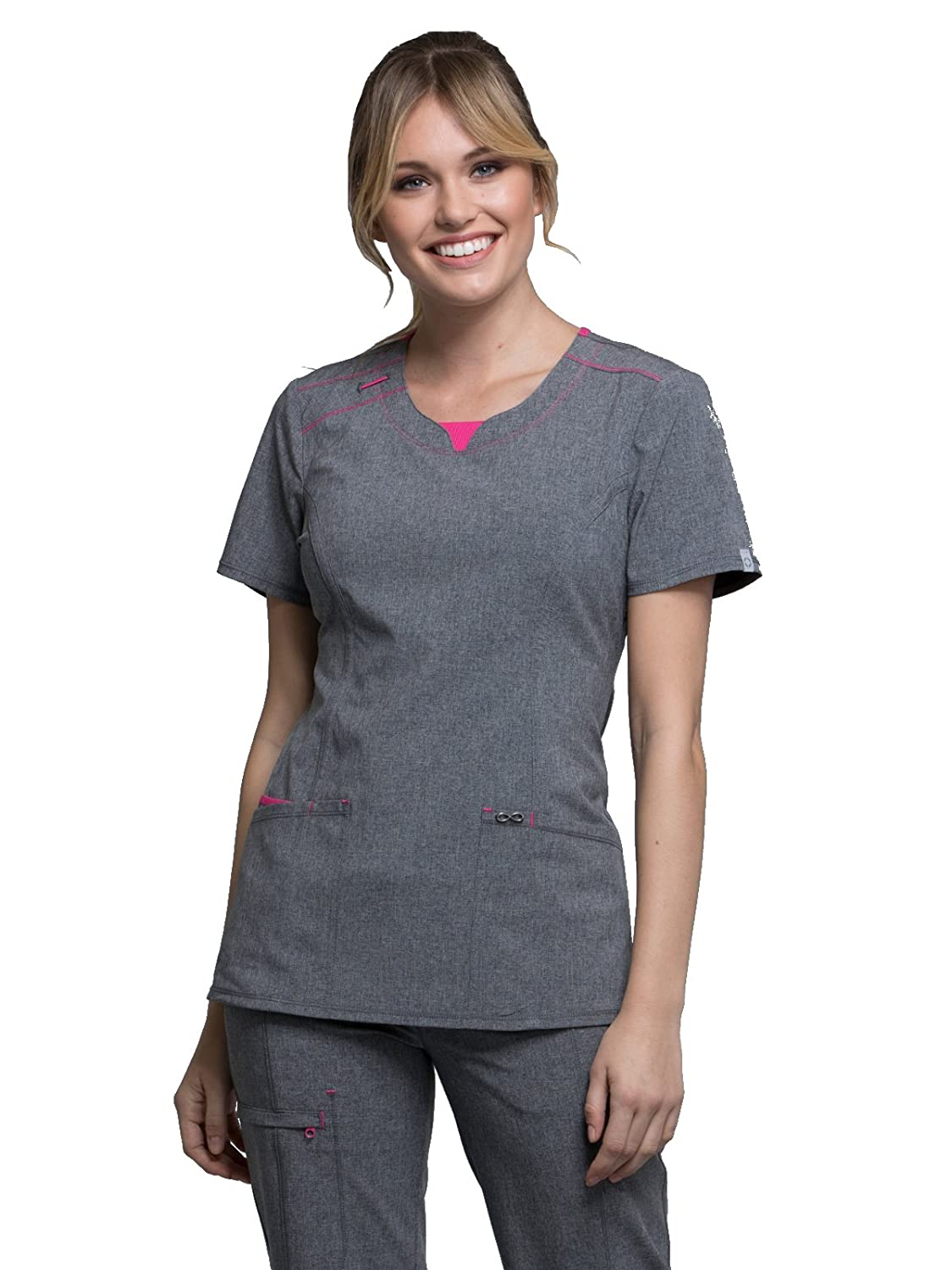 1958526d7b5 A Contemporary fit round neck top. Features a rib knit inset at the front  neckband, shoulder yokes, and a bungee I.D. badge loop on the right  shoulder.