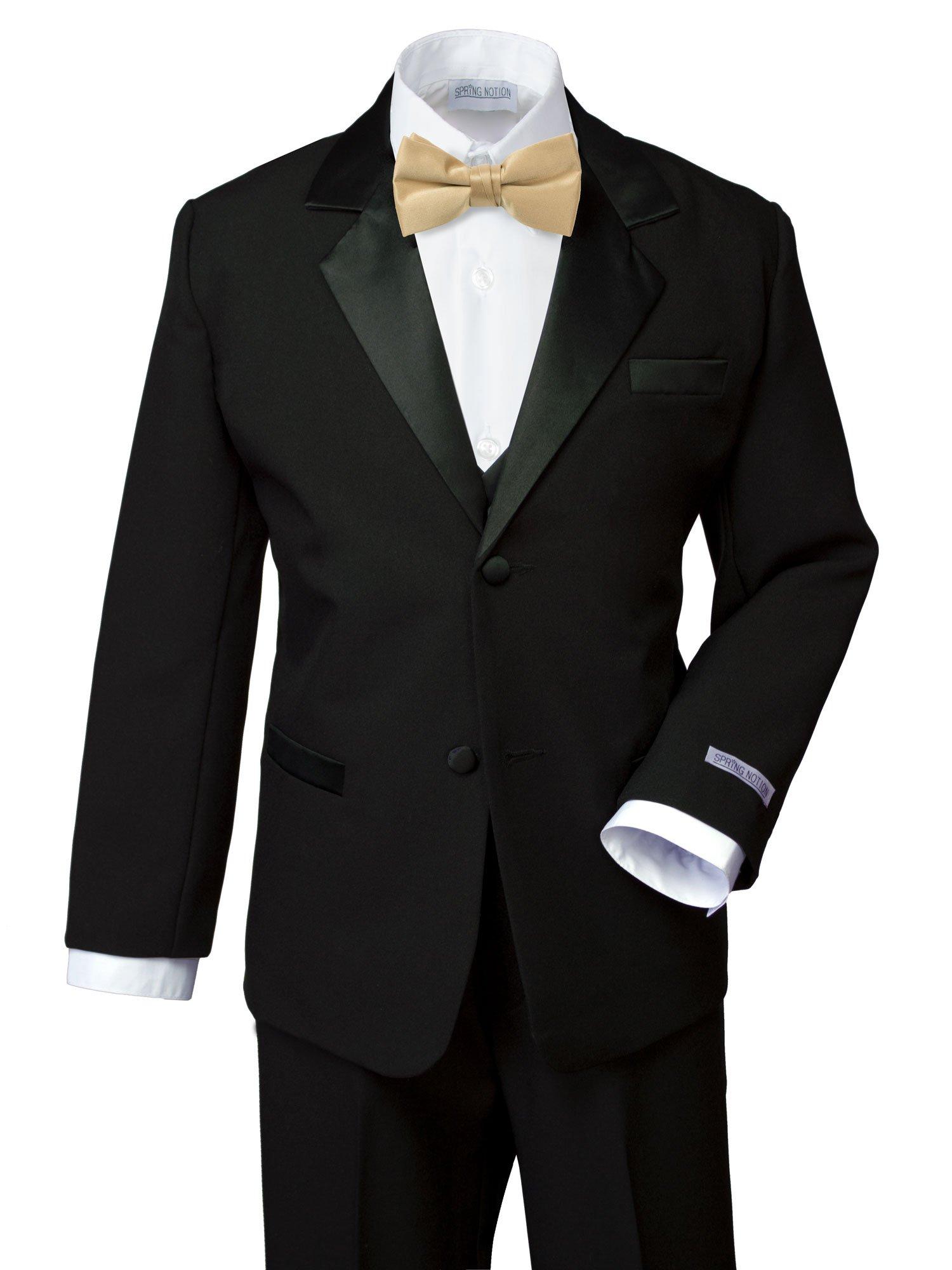 Spring Notion Boys' Classic Fit Tuxedo Set, No Tail Large/12-18M Black-Antique Gold