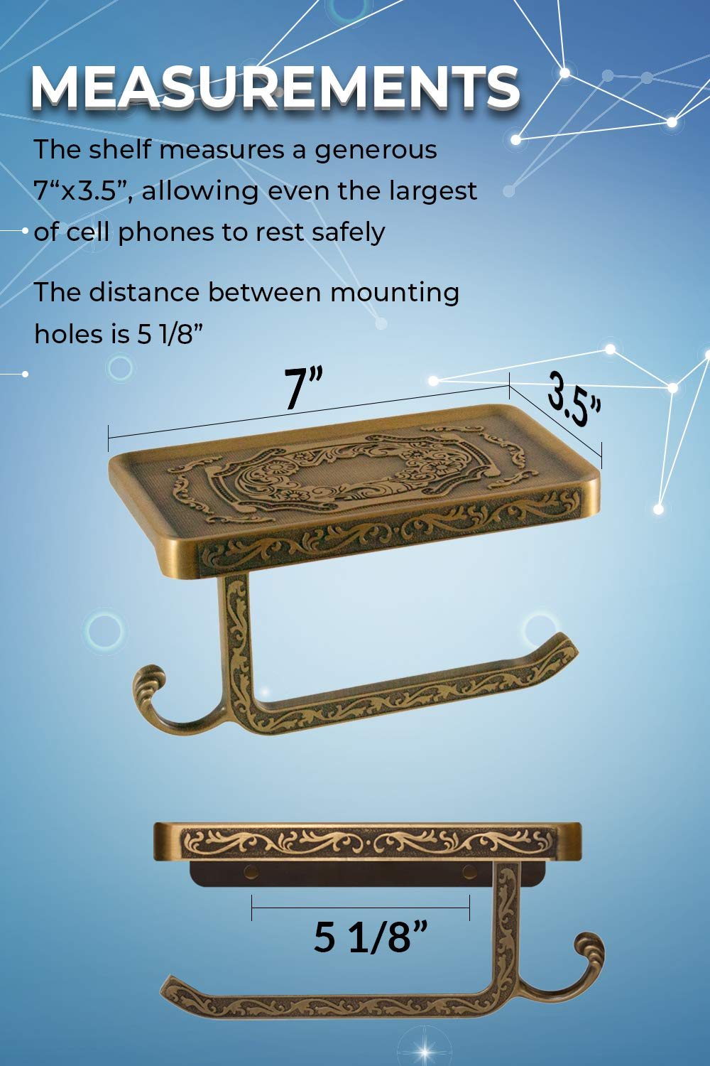 Neater Nest Reversible Bathroom Toilet Paper Holder with Phone Shelf and Hook Bronze Vintage Decor Style