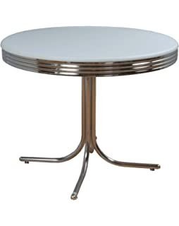 Delightful Target Marketing Systems Round Retro Dining Table With Chrome Accents, White