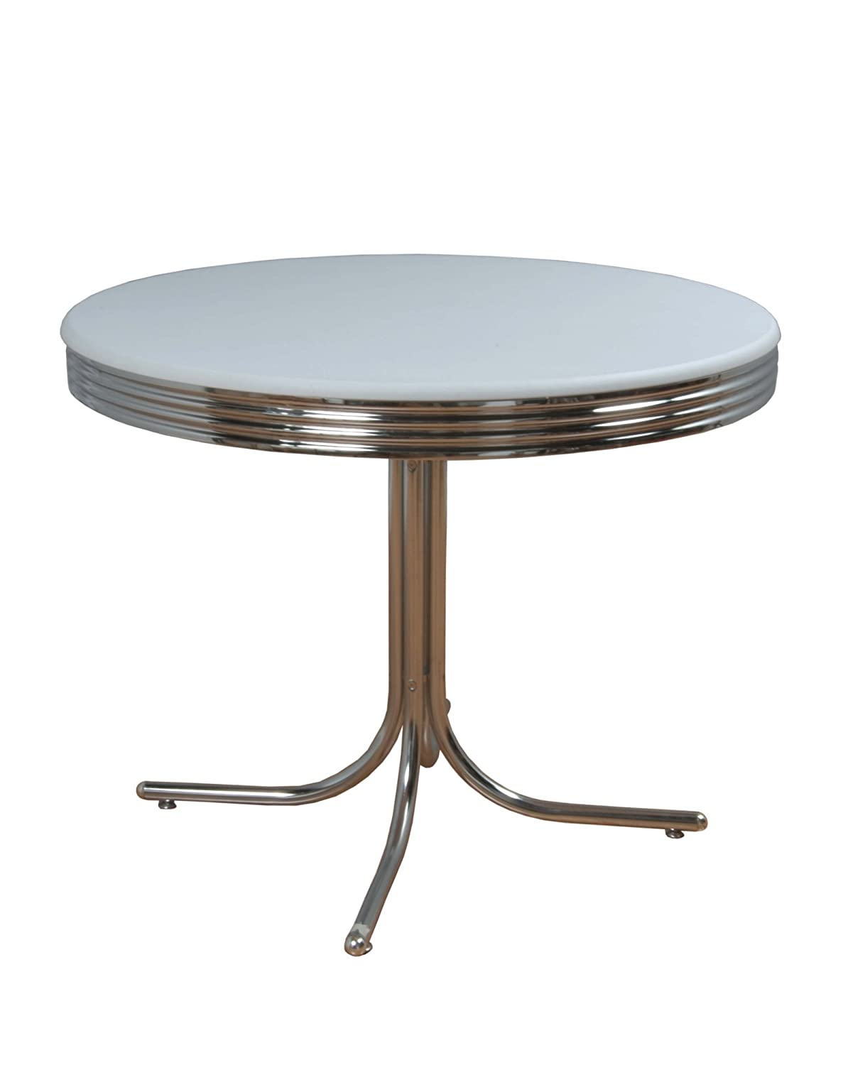 amazon com target marketing systems round retro dining table amazon com target marketing systems round retro dining table with chrome accents white tables