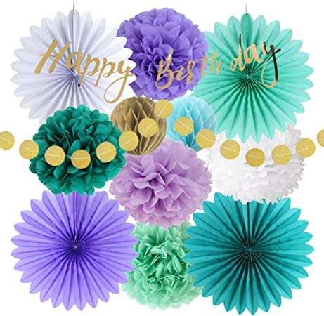 Amazon.com: Fácil Joy decoración de cumpleaños de sirena ...