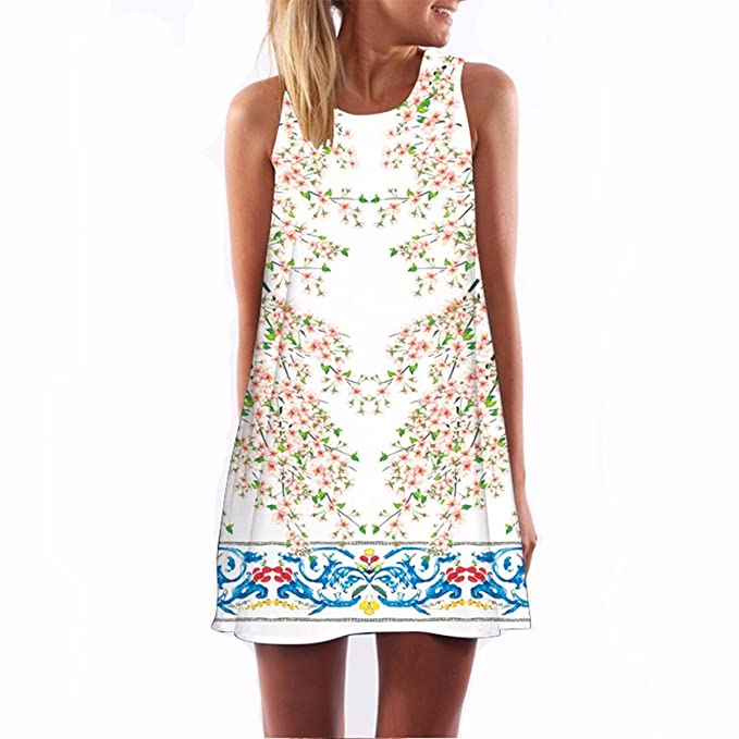 Summer Sexy Dress Women Vestidos Vintage Print Casual Beach Dresses at Amazon Womens Clothing store: