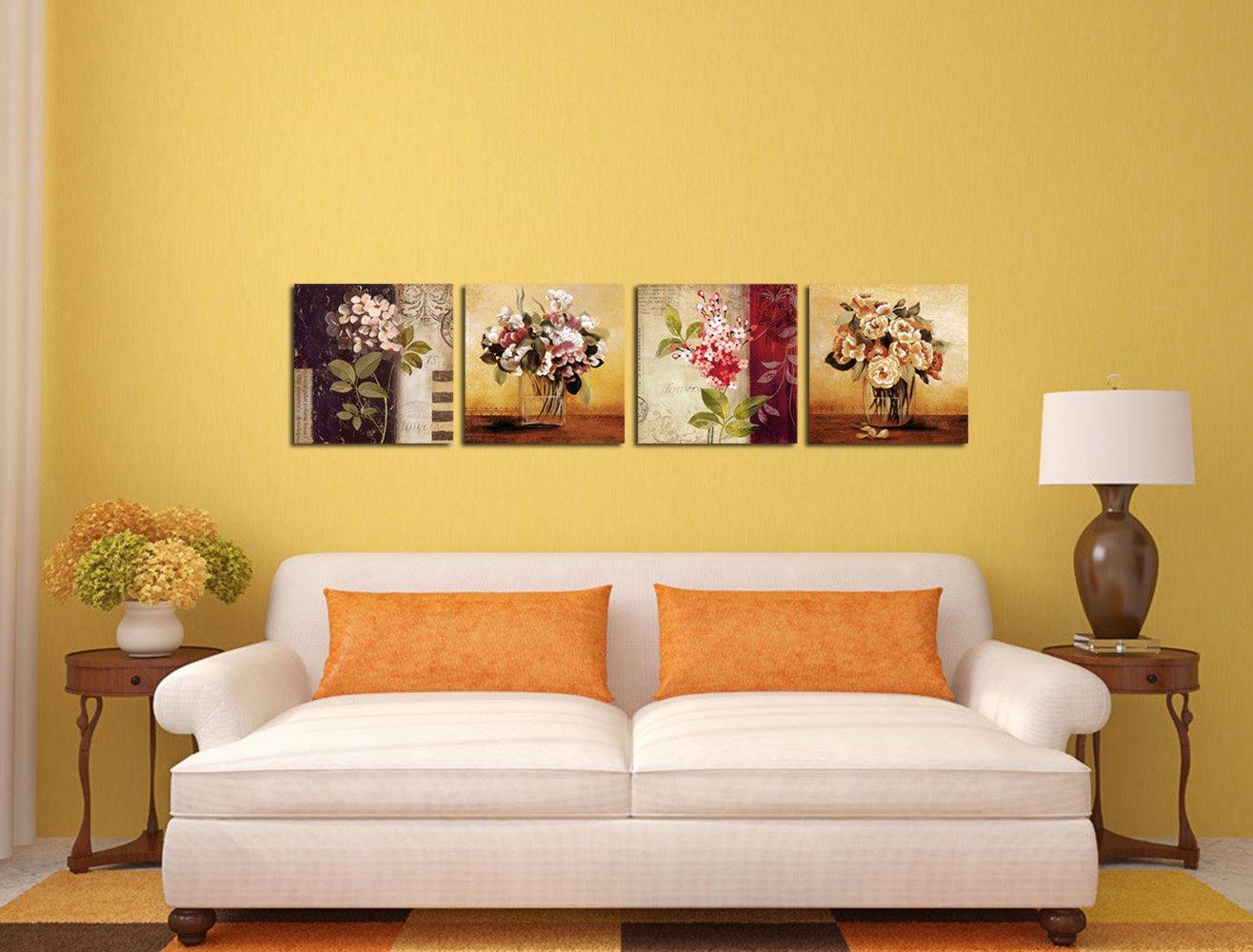 Amazon.com: Gardenia - Retro Flowers Canvas Wall Art Prints 16 x 16 ...