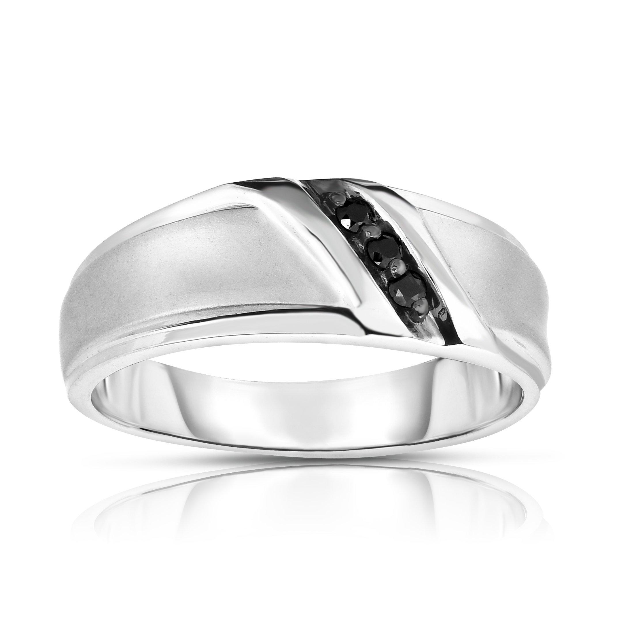 Noray Designs 14K White Gold Black Diamond (0.08 Ct, I1-I2 Clarity, Black Color) Men's 3-Stone Ring