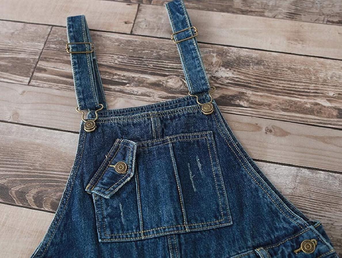 ONTBYB Womens Pockets Adjustable Bib-Overalls Baggy Denim Pants Jumpsuits Rompers