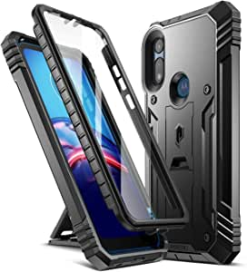 Poetic Revolution Series for Moto E 2020 Case, Full-Body Rugged Dual-Layer Shockproof Protective Cover with Kickstand and Built-in-Screen Protector, Black
