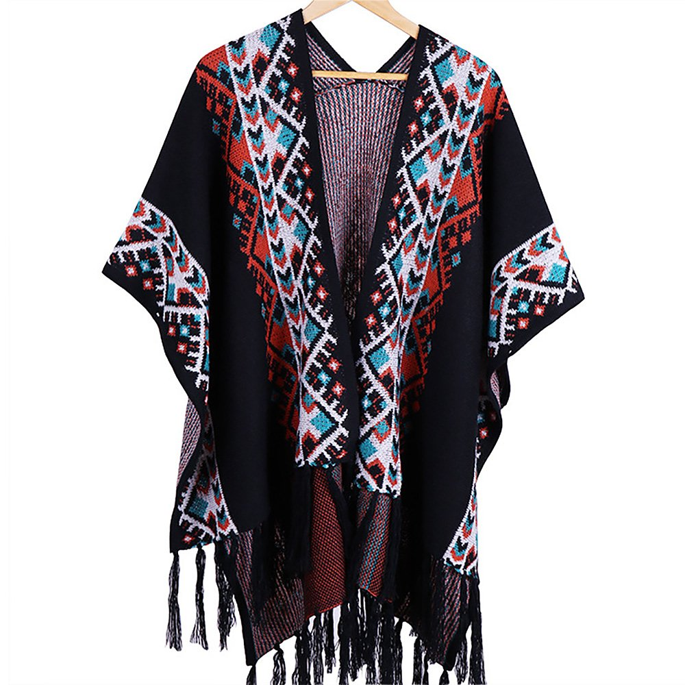 Ya Jin Vintage Poncho Cape Tassel Shawl Wrap Cardigan Coat for Women Men