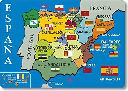 Map Of Spain Political.Magnet Political Map Spain Amazon Co Uk Kitchen Home